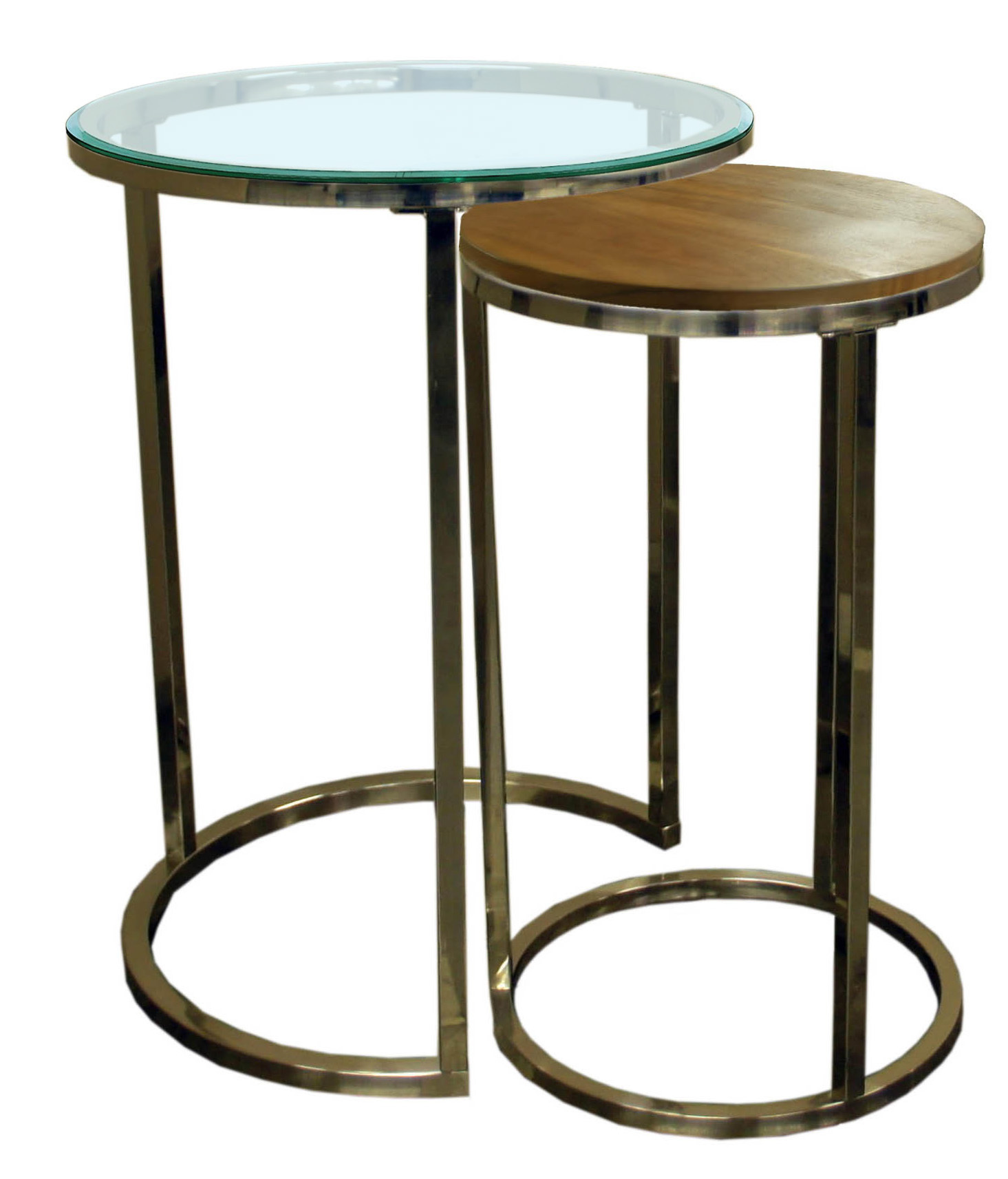 Brushed Nickel Nesting End Table Collection
