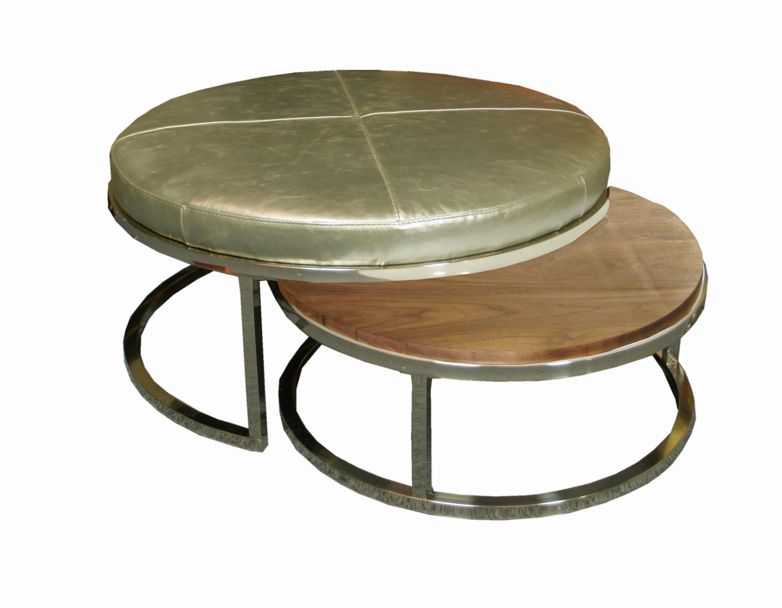 Brushed Nickel Nesting Cocktail Ottoman Collection