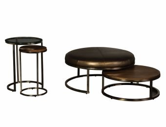 Champagne Brass Nesting Cocktail Ottoman Collection